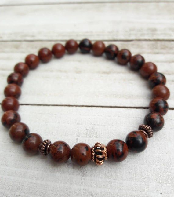 Men/'s Beaded Black Leather Bracelet With Crazy Lace Agate Gemstones USA