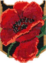 Poppy Necklace. This will be a great necklace! Instructions are given on how to best add fringe, and two options for a strap. This can be worked in peyote or brick. Graph provided in color code mode with list of Delicas needed. 21 colors Stitch:Brick or peyote