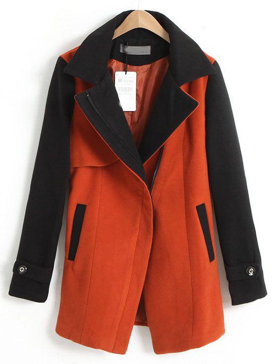 Orange Lapel Contrast Long Sleeve Pockets Coat