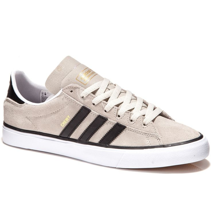 The Adidas Campus Vulc II shoes in Chewy Cannon's grey and black suede colorway features streamlined upper. Durable suede with recessed eyelets and supportive sockliner make this shoe great for skatin
