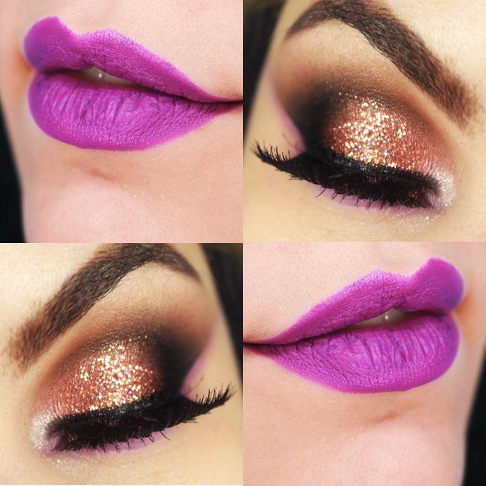 Tutorial – maquiagem colorida com batom roxo para o Carnaval