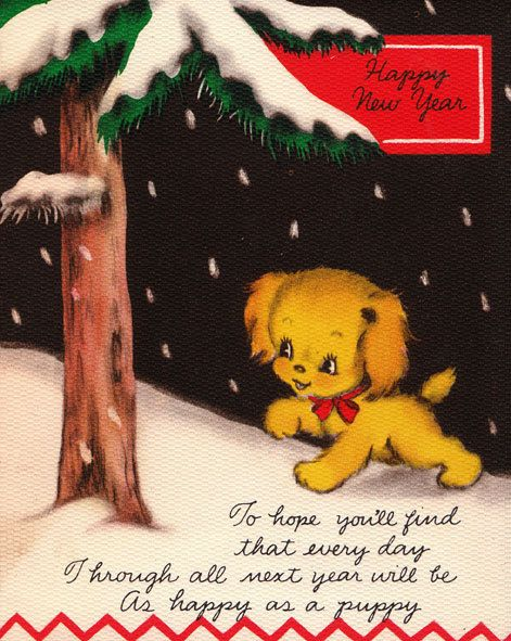 What a charmingly sweet wish. #dogs #puppies #vintage #New_Years #card