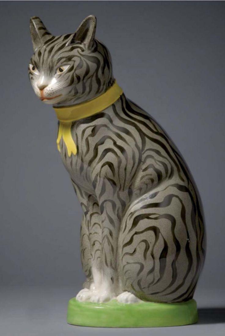 Staffordshire Porcelain Cat Model