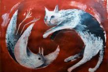 Ginevra Tarabusi,  La gabbianella e il gatto, 2017,  tecnica mista su carta, cm 40x60