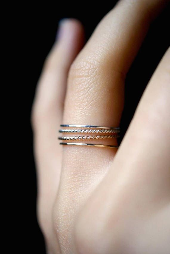 SOLIDE 14K goud & zilver Ultra dunne Twist stapelen ringen set