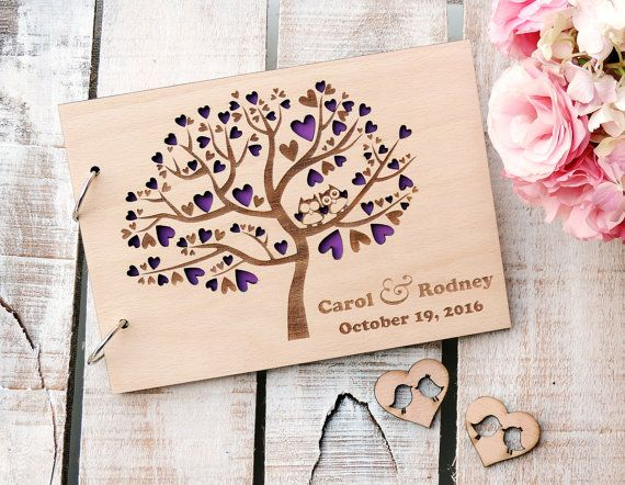 Cute Owls Tree Rustic Wedding Guest Book Custom Wedding Guest