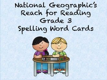 Reach for reading grade 3 spelling word cards for units 1-8.
