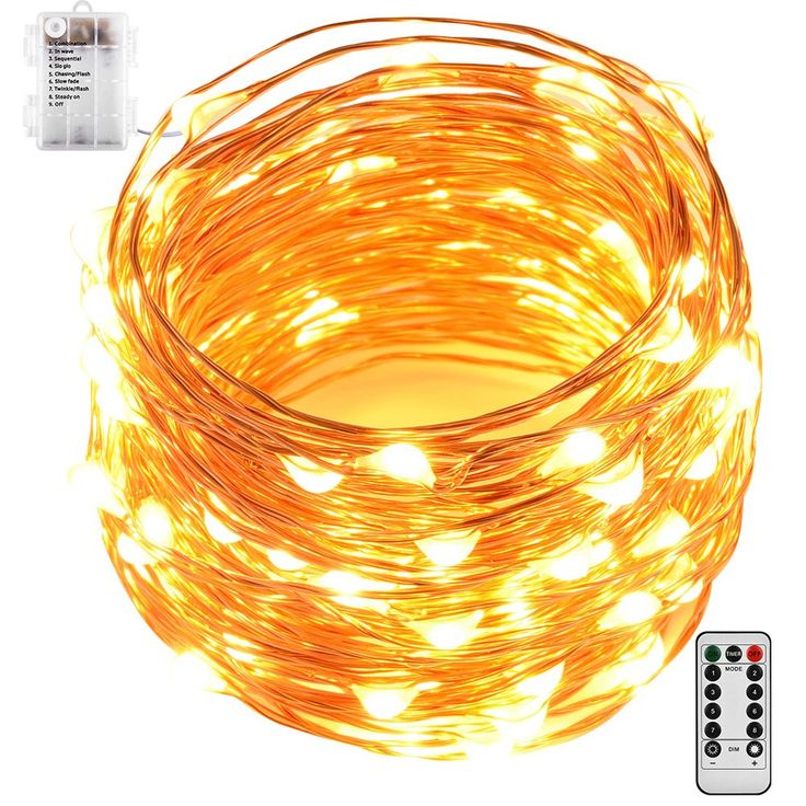 Led String Lights, GardenDecor 100 Leds Waterproof Decorative Fairy Battery Powered String Lights with Remote and Timer, Copper Wire light for Bedroom,Wedding(33ft/10m Warm White)