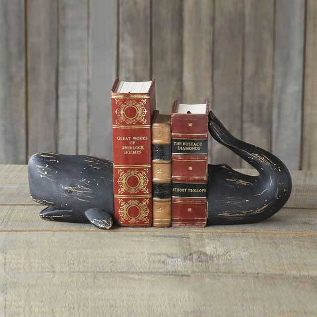 Whether you're a Moby Dick fan or not, we think you'll appreciate this charming bookend set. The whale's head smiles at you from the front, and you can expand the whale's tail as far back as you like—h...  Find the Glad Whale Bookends, as seen in the Wild Alaskan Summer Collection at http://dotandbo.com/collections/wild-alaskan-summer?utm_source=pinterest&utm_medium=organic&db_sku=CCO0309