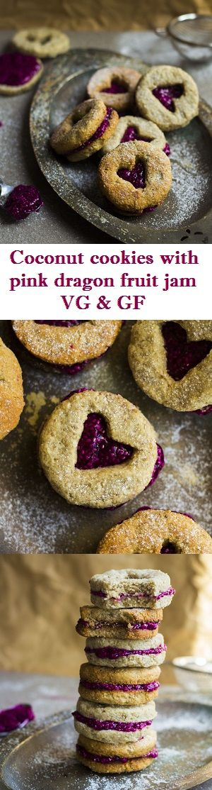Coconut cookies with pink dragon fruit jam. VG & GF & can be baked or dehydrated!                                                                                                                                                      More