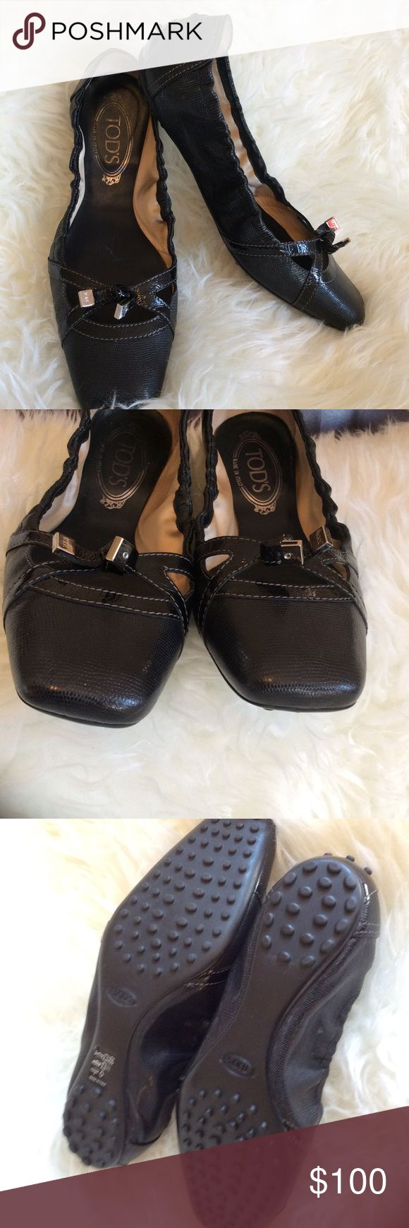 Sz 9.5 Tod's Black Ballet Flats EUC driving shoes EUC beautiful Tod's ballerina flats in black. Wore twice.  Very light wear inside shoe logo. See photo. Tod's Shoes