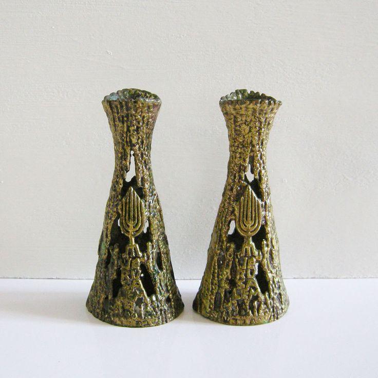 Vintage 70s Shabbat Candlesticks Jerusalem Brass candle holders Handmade Israel