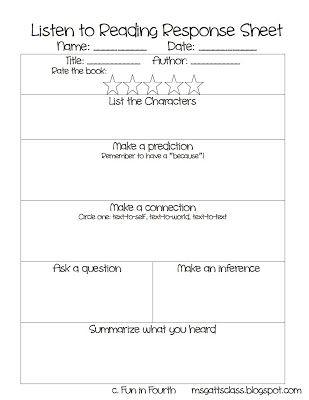 Listen to Reading Response sheet - FREE!