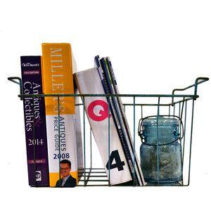 Green Metal Wire Basket Locker Basket, Rustic Shabby Industrial Storage Bin Decor