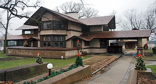 B. Harley Bradley House, 1900. Frank Lloyd Wright's first prairie style home. Kankakee, IL