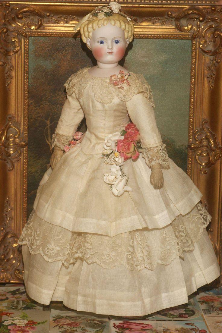 Unusual Socket Head 1870's Parian Fashion Lady in Original Clothes from matrixqualityantiquedollsbymail on Ruby Lane