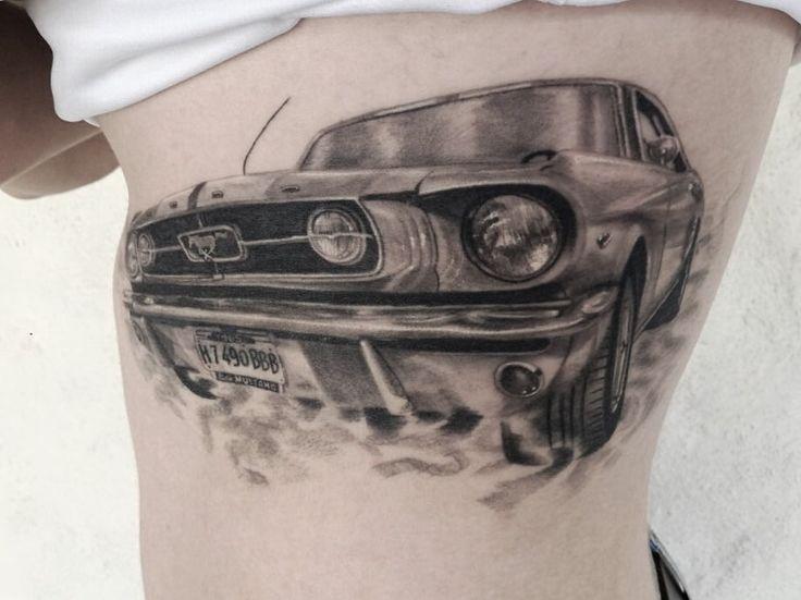 Tattoo mustang car healed