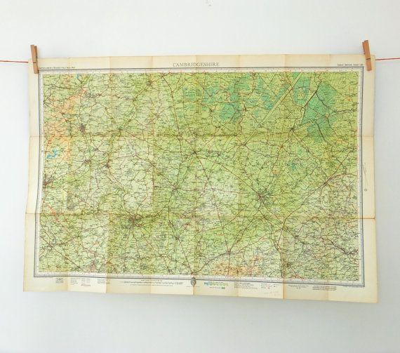 Vintage Cambridge Map, Cambridgeshire Vintage Bartholomew's Map
