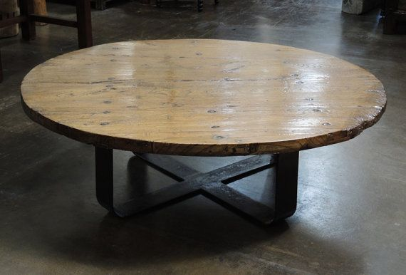 Recycled Wood Round Coffee Table With Metal Base From