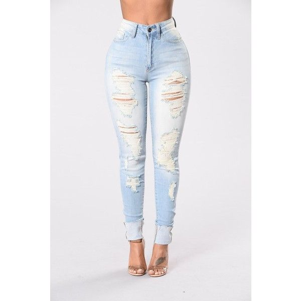 Prime Time Jeans Light Blue ($35) ❤ liked on Polyvore featuring jeans, white distressed jeans, white ripped jeans, high-waisted jeans, destroyed skinny jeans and white high-waisted jeans