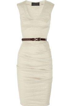 La Petite S***** Belted stretch linen-blend dress | NET-A-PORTER