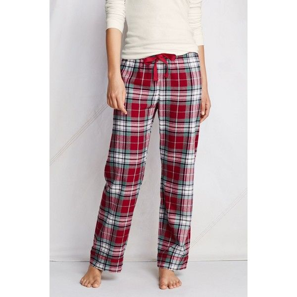 Lands' End Women's Print Flannel Sleep Pants ($17) ❤ liked on Polyvore featuring intimates, sleepwear, pajamas, classic cherry multi plaid, petite flannel pajamas, flannel pjs, lands end pjs, petite sleepwear and flannel pajamas
