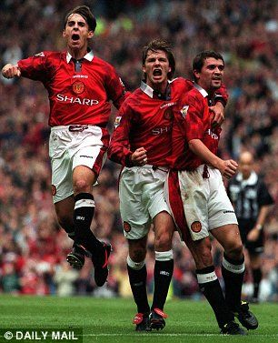 Gary Neville (left), David Beckham (centre) celebrate after Roy Keane scores in 1997
