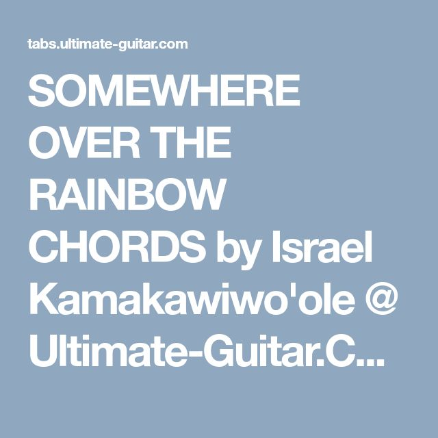 Somewhere over the rainbow chords guitar