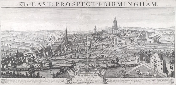 East View of Birmingham 1732, William Westley Birmingham