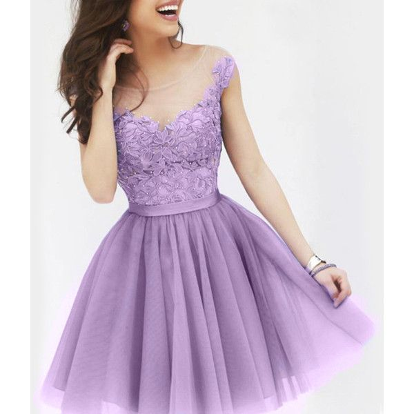 Sexy Sccop Neck Sleeveless See Through Appliques Women s Dress ($16) ❤ liked on Polyvore featuring dresses, light purple, purple dress, sexy cocktail dresses, see through dress, sexy sheer dresses and sheer cocktail dress