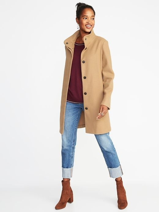 002fa7bfdeae Bouclé Funnel-Neck Coat for Women in 2019