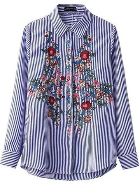 Camisa Feminina Listrada Bordada - Ref.895
