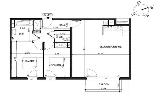 Cliquez pour agrandir le plan de appartement neuf T3 de 70m² à WAMBRECHIES-59118 (Réf: LT4924).
