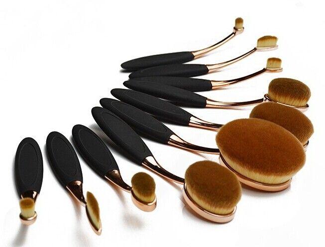 Rosé guld  HD Oval borste set med 10 olika ovala, linjära och runda sminkborstar för applicering av foundation, puder, highlighter, bronzer, ögonskugga...mm