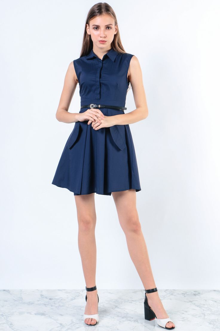 Button Front Collar Dress (Navy) Image 4