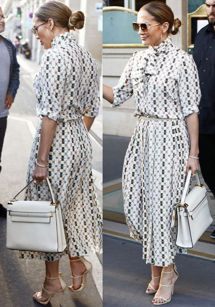 808e5df179a1c ... Giuseppe Zanotti 'Harmony' Sandals. J.Lo steps out in a monogram Gucci  dress for a romantic lunch