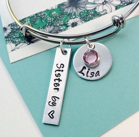 Sisters by Heart, Best Friends Bracelet, Best Friend Gift, Best Friend Gift, Hand Stamped Friends Bracelet, Adjustable Bracelet,