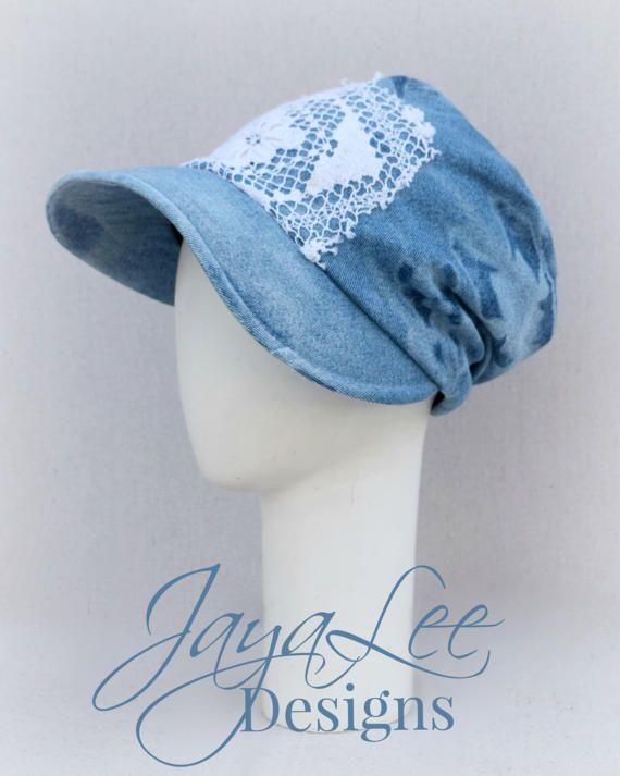 Bleached Denim Slouchy Sun Hat by Jaya Lee Designs #sunhat #distresseddenim
