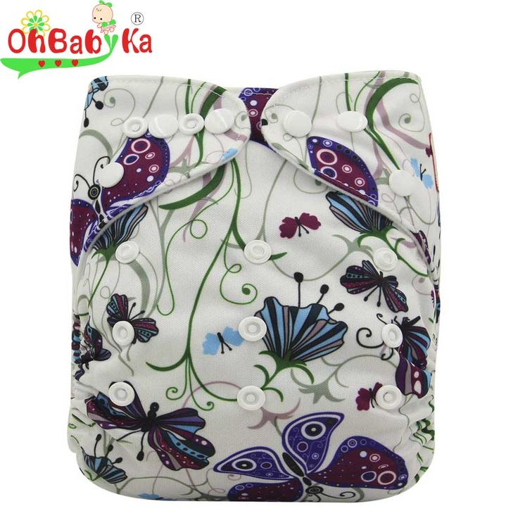 Ohbabyka Couche Lavable Print Pattern Cloth Diaper Reusable Baby Diaper Bamboo Velour Fitted Washable Diapers Baby Nappy Cover