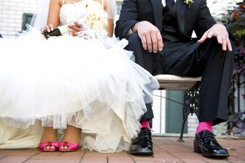 I like this idea: groomsmen socks match the bridesmaids dresses.