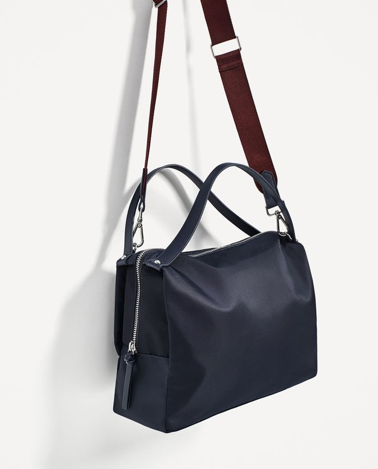 Image 1 of FABRIC BOWLING BAG WITH CONTRASTING HANDLE from Zara