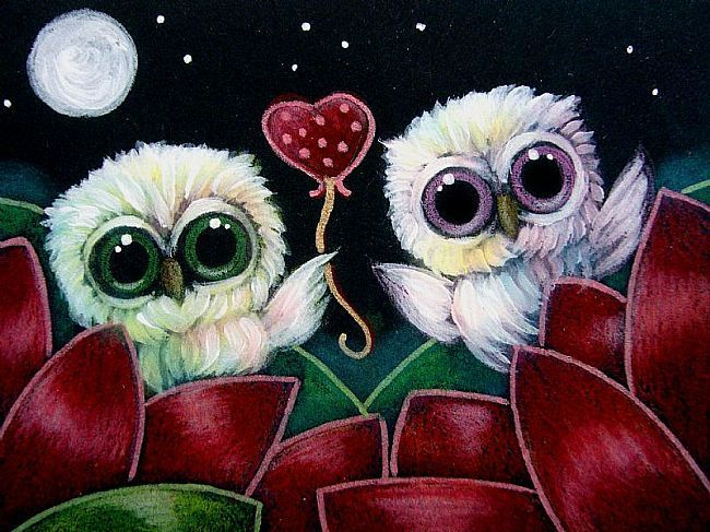 TINY OWLS IN MY GARDEN WITH A VALENTINE HEART FOR YOU