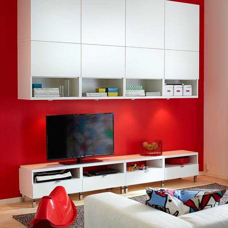 BESTÅ white wall cabinets and TV bench with drawers