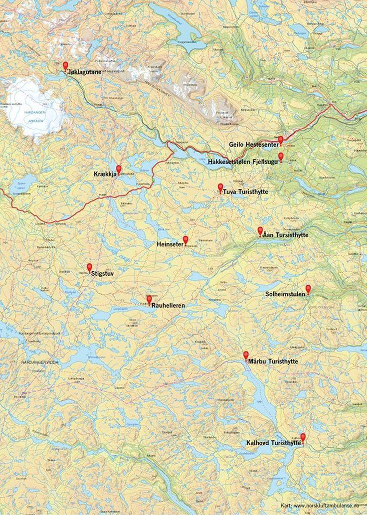 Kart : Hytteringen Hardangervidda