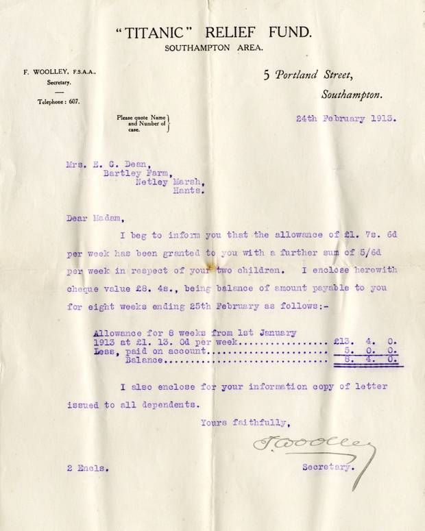 A compensation letter sent to Millvina Dean's mother from the Titanic Relief Fund.                                                                                                                                                                                 More