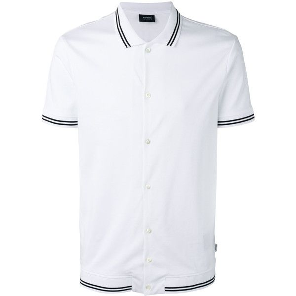 Armani Jeans Stripe-detail Polo Shirt ($136) ❤ liked on Polyvore featuring men's fashion, men's clothing, men's shirts, men's polos, men's cotton polo shirts, mens cotton shirts, mens polo shirts, mens white cotton shirts and mens white polo shirt