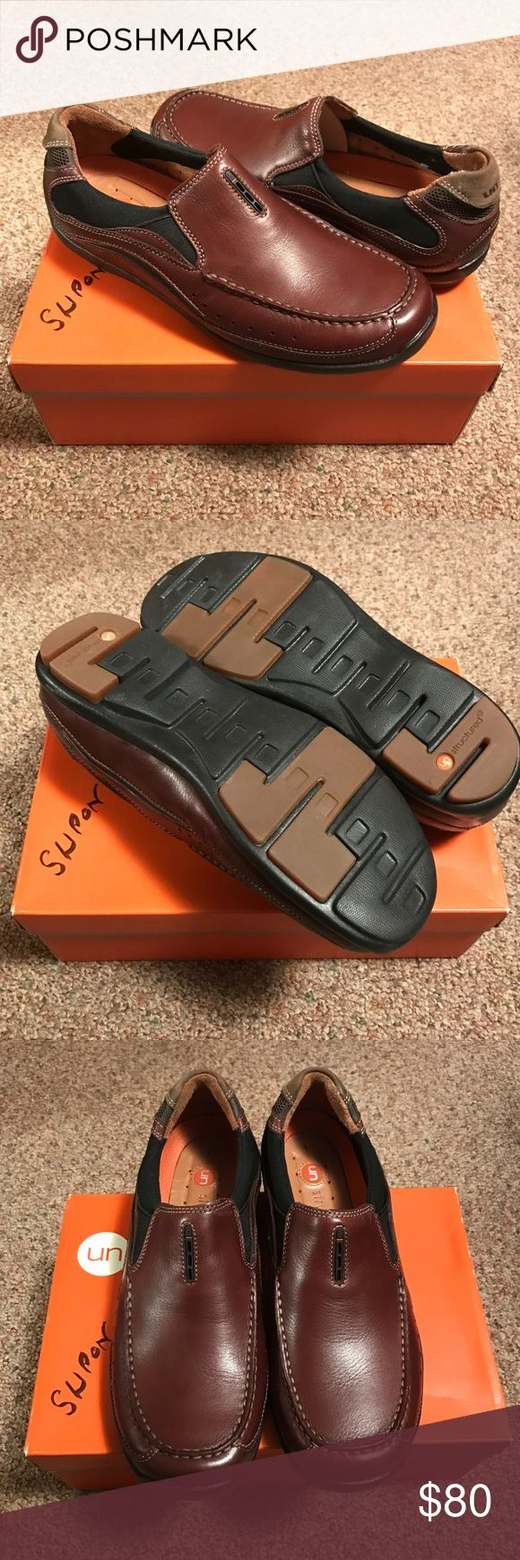 CLARKS MENS UNSTRUCTURED BROWN LEATHER SLIP ON NEW Selling these men's slip on shoes by Clarks. These are the unstructured line. Brown leather. Size 8. New with box-never worn. Clarks Shoes Loafers & Slip-Ons
