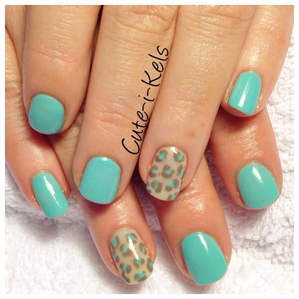 51 best cute i kels images on pinterest facebook shellac and tiffany blue shellac over short natural nails with animal print nail art accent finger prinsesfo Images