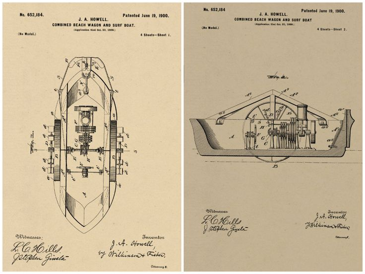 Beach Wagon and Surf Boat Patents #651,184-1 dated June 19, 1900. by RandSpatentprints on Etsy
