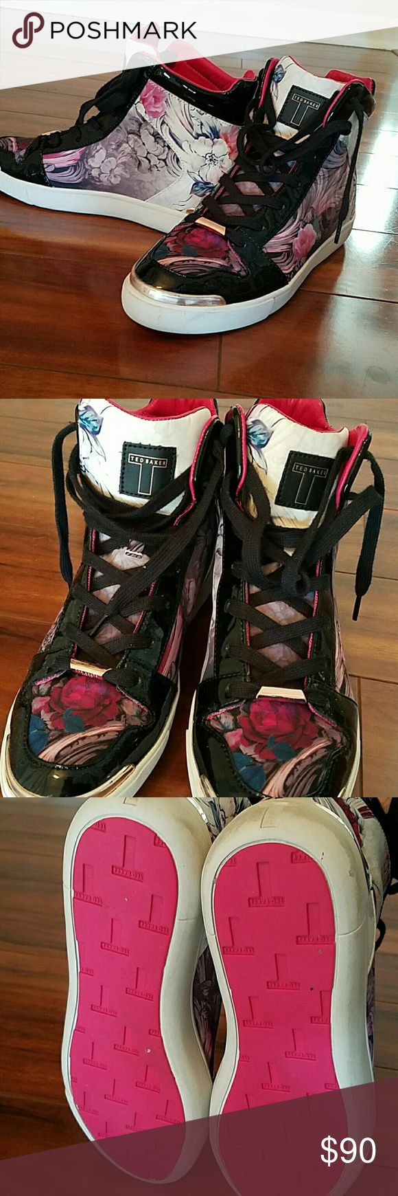 😎Ted Baker Shoes Beautiful Flower Tennis Shoe High Top Ted Baker Shoes Sneakers